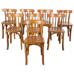 1950s French Baumann Bentwood Bistro Dining Chair, Model 1, Set of Eight