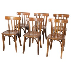 1950s French Baumann Bentwood Bistro Dining Chair, Model 2, Set of Six