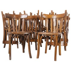 1950s French Baumann Bentwood Bistro Dining Chair, Model 2, Set of Sixteen