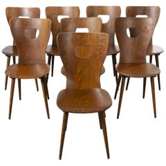 1950s French Baumann Bentwood Classic Shaped Dining Chair, Set of Eight