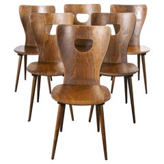 1950s French Baumann Bentwood Classic Shaped Dining Chair, Set of Six
