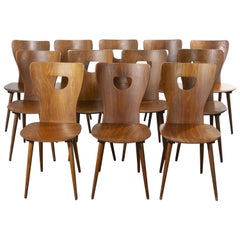1950s French Baumann Bentwood Classic Shaped Dining Chair, Set of Twelve