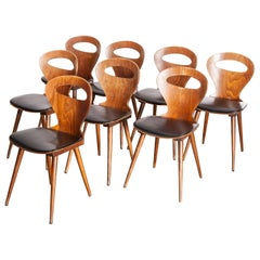 1950s French Baumann Fourmi Dining Chair with Upholstered Seat, Set of Eight