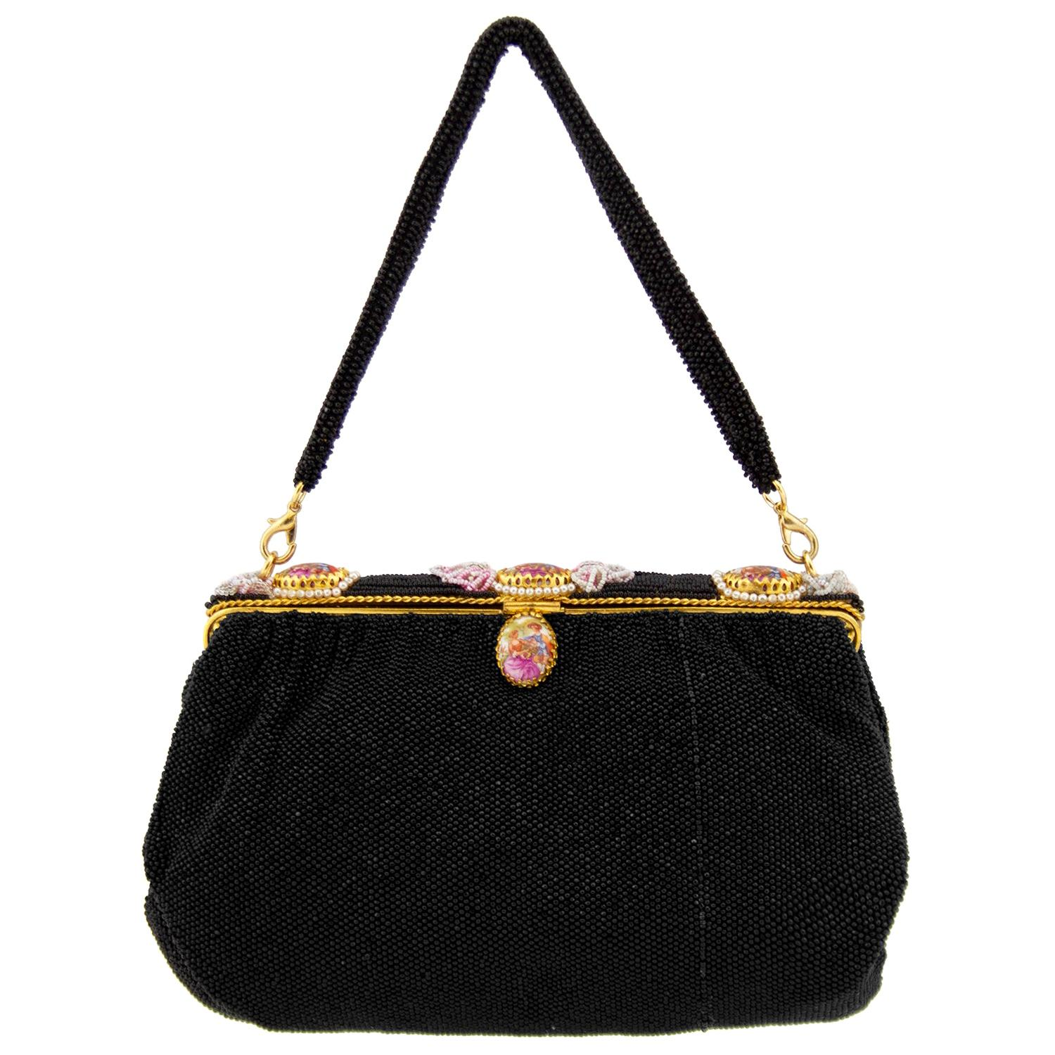 1950's French Black Beaded Evening Bag With Cameos