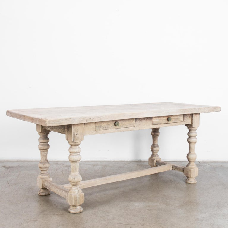 French Provincial 1950s French Bleached Oak Dining Table