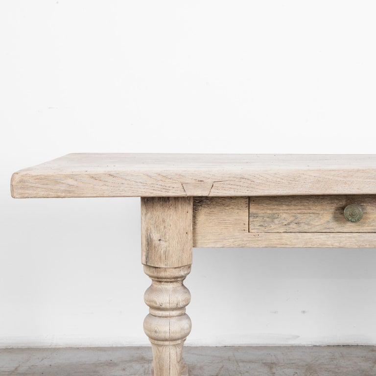 Belgian 1950s French Bleached Oak Dining Table