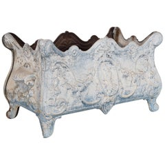 1950s French Blue and White Floral Cast Iron Planter