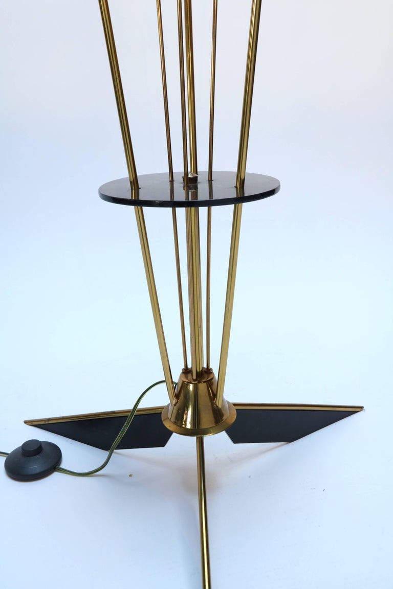 Mid-20th Century 1950s French Brass and Black Metal Floor Lamp For Sale
