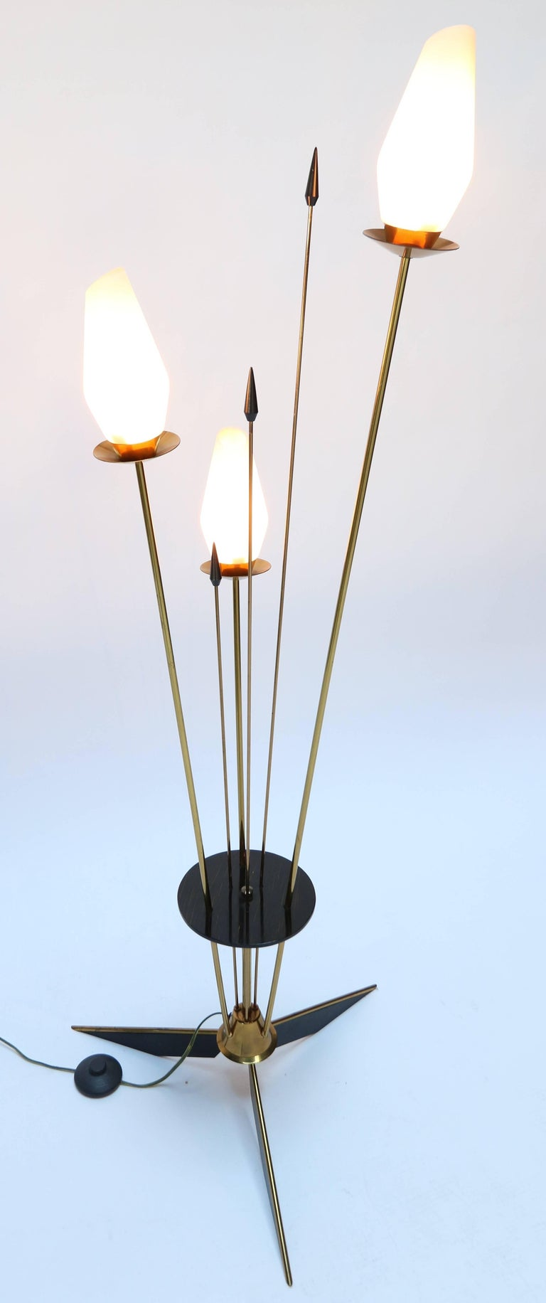 1950s French Brass and Black Metal Floor Lamp For Sale 2