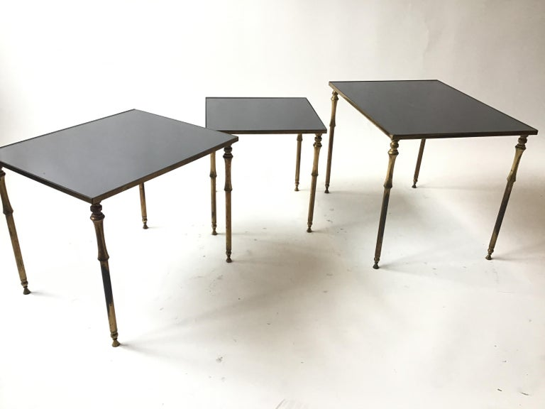 1950s French Brass/Glass Nesting Tables For Sale 6