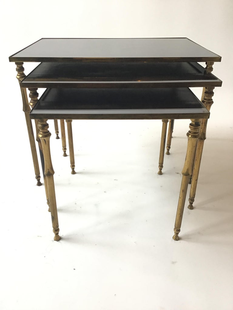 1950s French Brass/Glass Nesting Tables In Good Condition For Sale In Tarrytown, NY