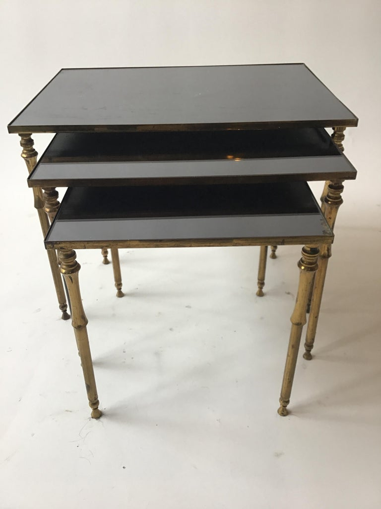 Mid-20th Century 1950s French Brass/Glass Nesting Tables For Sale