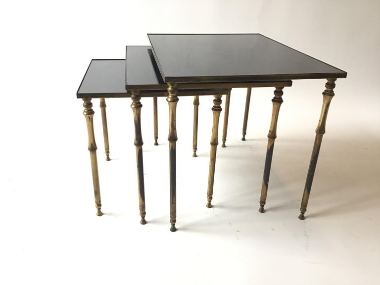 1950s French Brass/Glass Nesting Tables For Sale 1