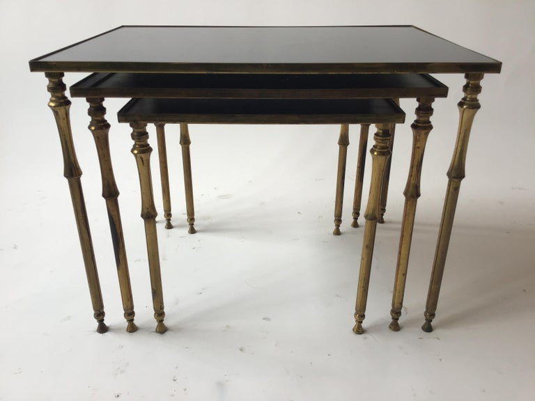 1950s French Brass/Glass Nesting Tables For Sale 2