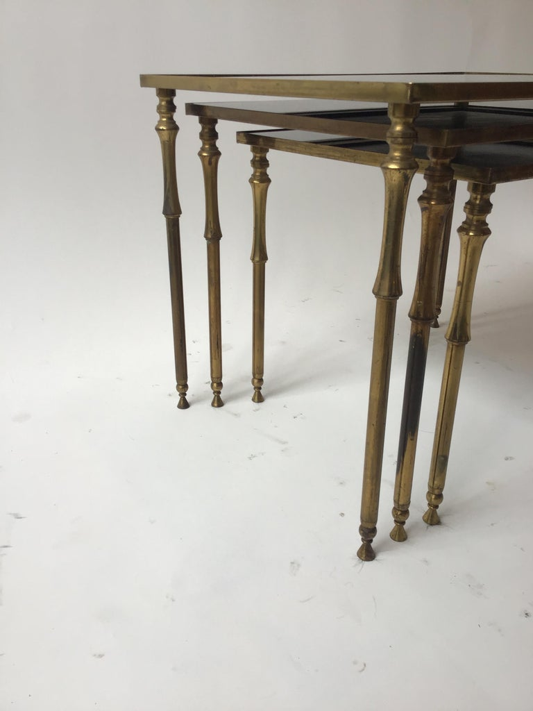 1950s French Brass/Glass Nesting Tables For Sale 3