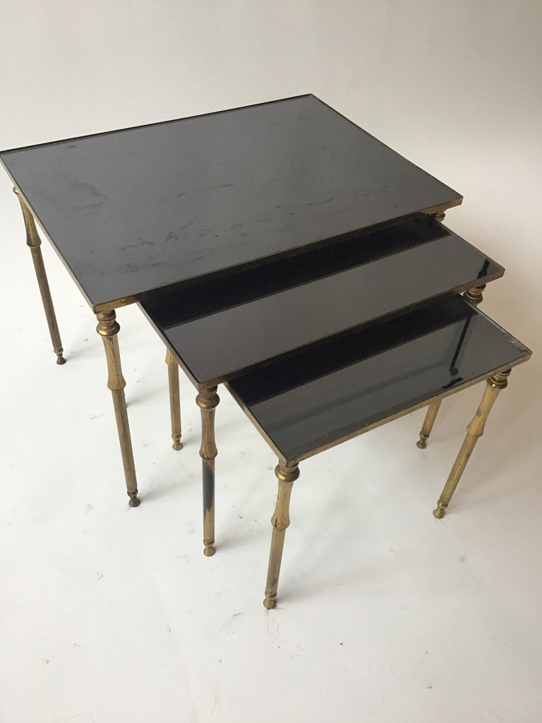 1950s French Brass/Glass Nesting Tables For Sale 4