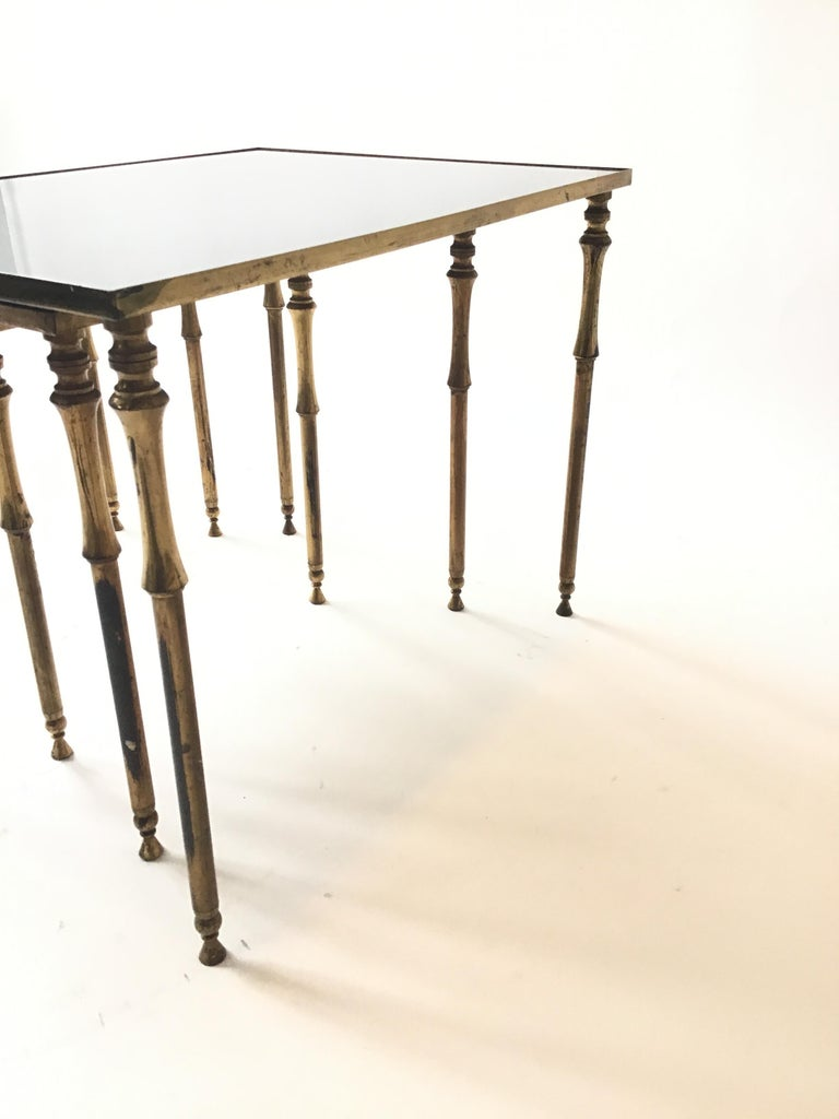 1950s French Brass/Glass Nesting Tables For Sale 5