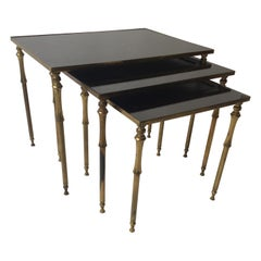 1950s French Brass/Glass Nesting Tables