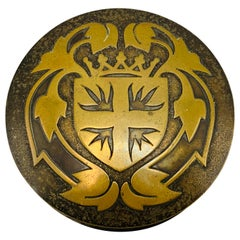 1950s French Brass Shielded Crest Coasters and Box, Set of 5