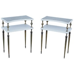 1950s French Brass Two-Tier End Tables