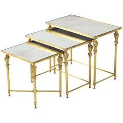 1950s French Bronze and Brass Nesting Tables