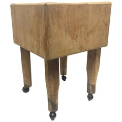 1950s French Butcher Block Table
