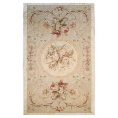 1950s French Carpet with Ochre Tones and Flower Decorations