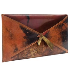 1950s French Copper Letter Rack Holder Envelope Shaped Sculpture Art
