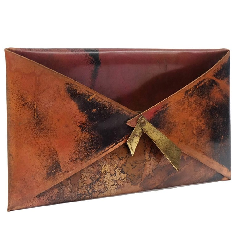 1950s French Copper Letter Rack Holder Envelope Shaped