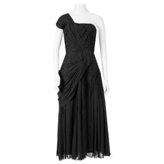 1950's French Couture Heavily Pleated Black Silk Chiffon One-Shoulder Dress