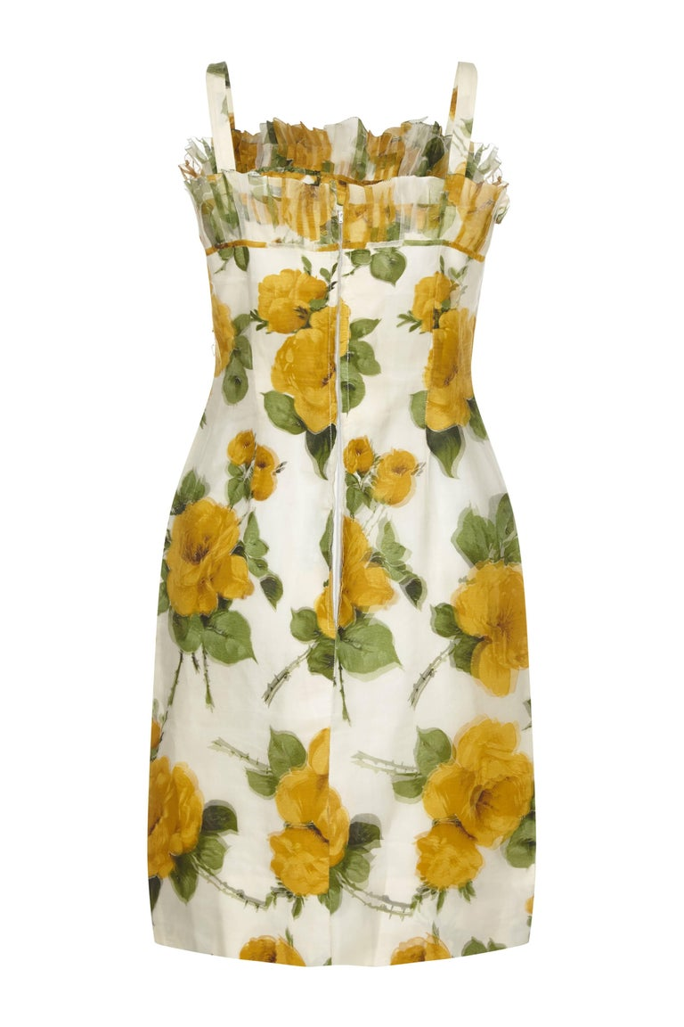 1950s French Couture Silk Organza Floral Print Dress and Jacket Suit In Excellent Condition For Sale In London, GB