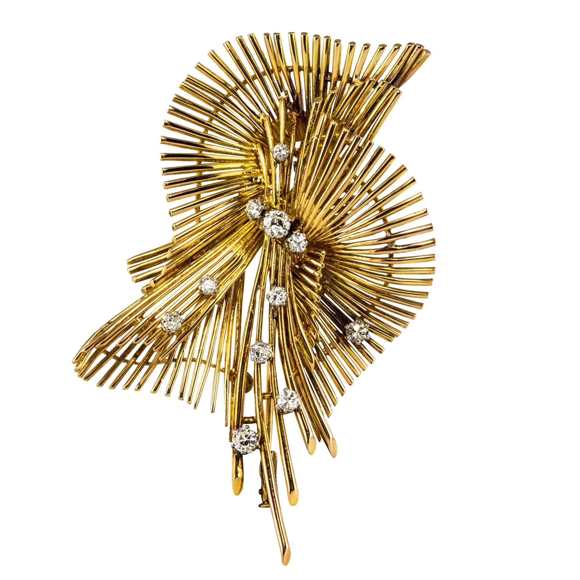 1950s French Diamond 18 Karat Yellow Gold Retro Brooch