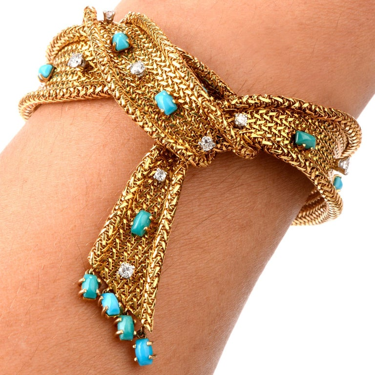 1950s French Diamond Turquoise Mesh Scarf 18 Karat Bracelet For Sale 1
