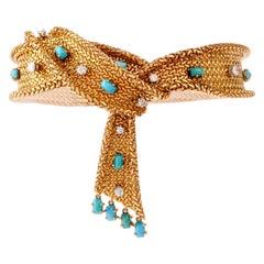 1950s French Diamond Turquoise Mesh Scarf 18 Karat Bracelet