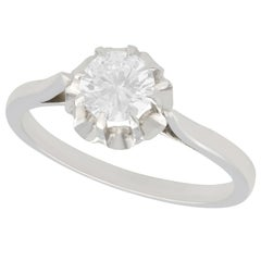 1950s French Diamond White Gold Platinum Set Solitaire Ring