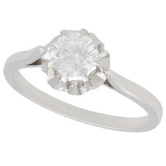 1950s French Diamond White Gold Platinum Set Solitaire Ring