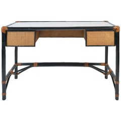 1950s French Ebonized Bamboo and Cane Desk