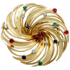 1950s French Emerald, Ruby, Sapphire and Diamond, Yellow Gold Brooch