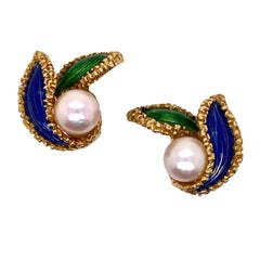 1950's French Enamel Pearl 18 Karat Yellow Gold Floral Vintage Ear Clip Earring