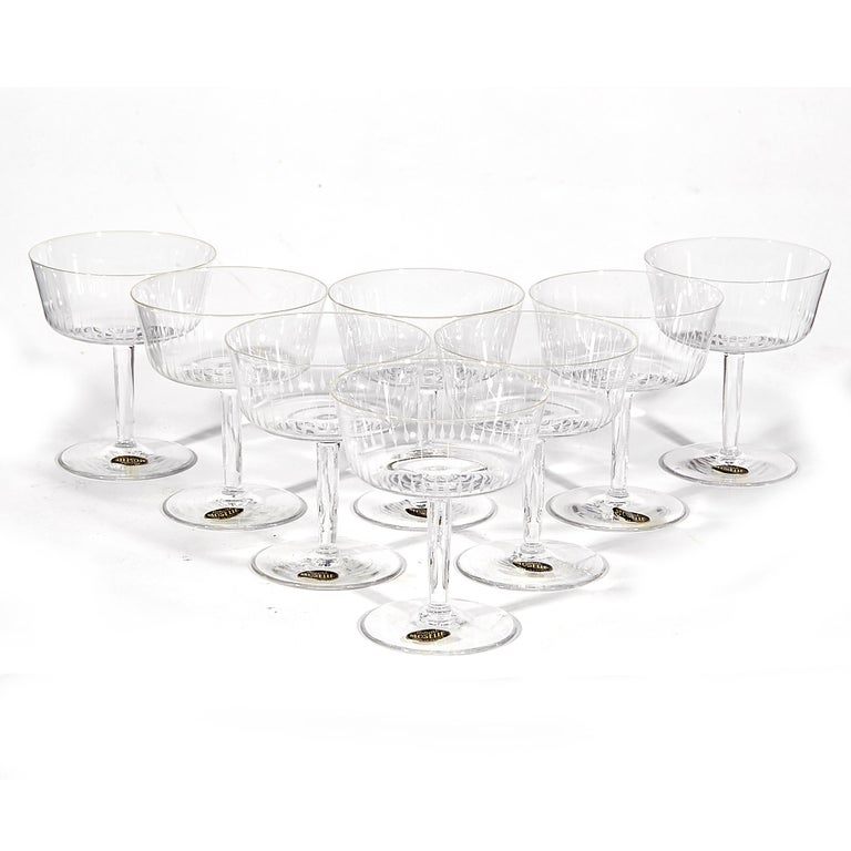 Vintage 1950s set of eight delicate French etched clear glass coupes. Marked: Royal Moselle.
