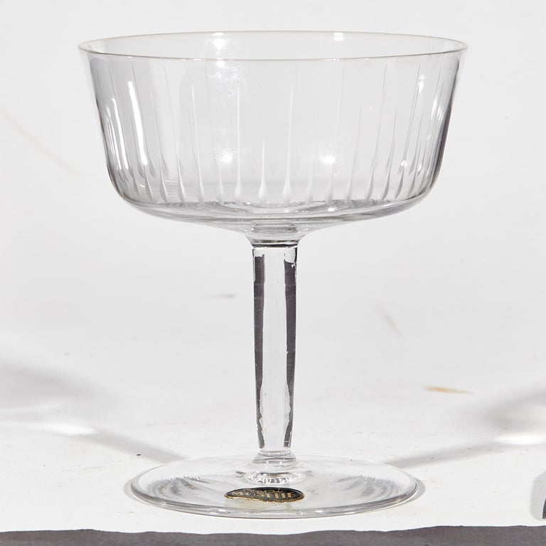 Mid-Century Modern 1950s French Etched Glass Coupes, Set of 8 For Sale