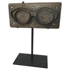 1950s French Eyeglass Mold on Custom Iron Base