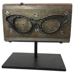 1950s French Eyeglass Mold on Iron Stand