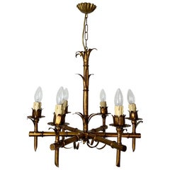 1950s French Faux Bamboo Gilt Chandelier
