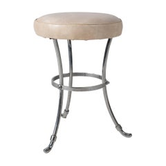 1950s French Faux Leather Steel Stool