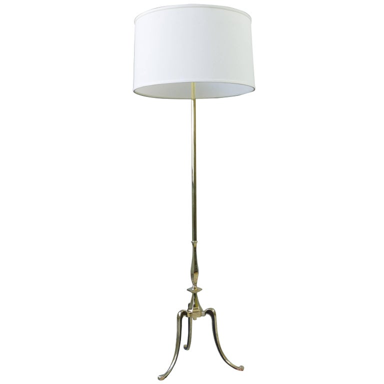 1950s french floor lamp with tripod base in polished brass for sale 1950s french floor lamp with tripod base in polished brass for sale aloadofball Choice Image