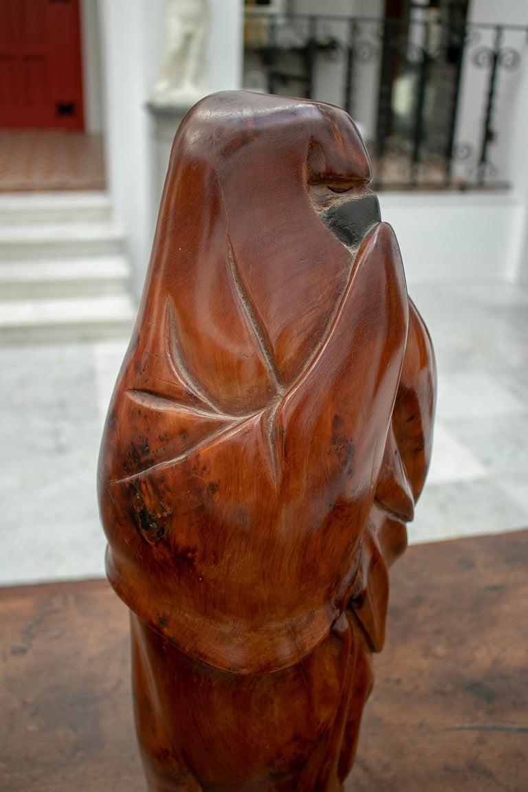1950s French Fruitwood Abstract Figurative Sculpture of an Arab Woman with Niqab For Sale 7