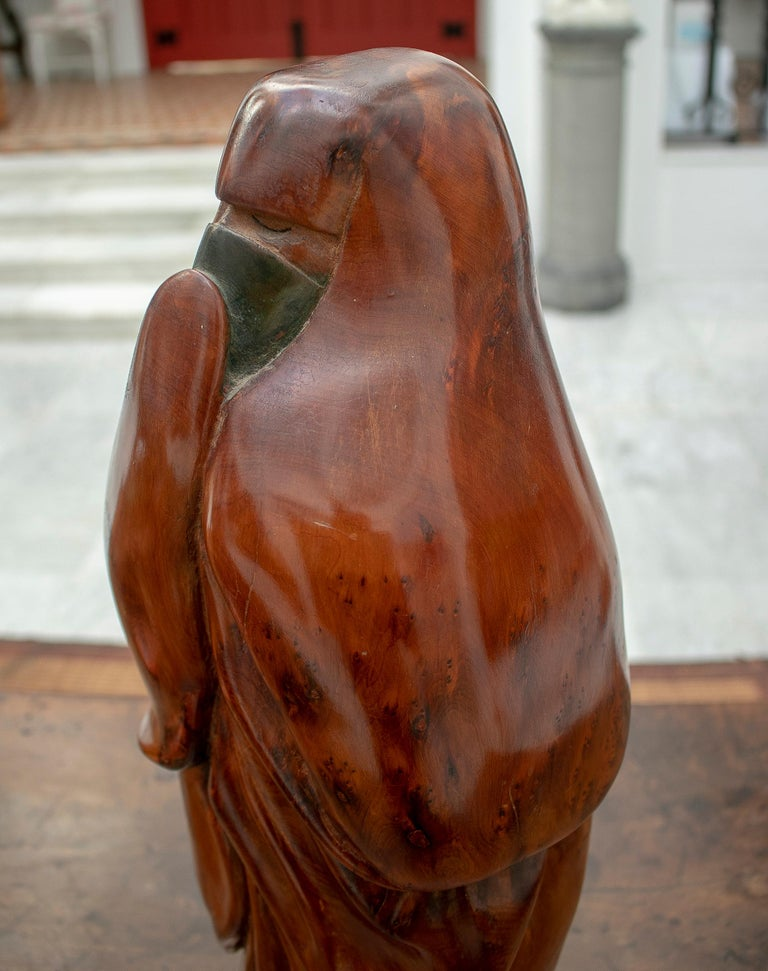 1950s French Fruitwood Abstract Figurative Sculpture of an Arab Woman with Niqab For Sale 8