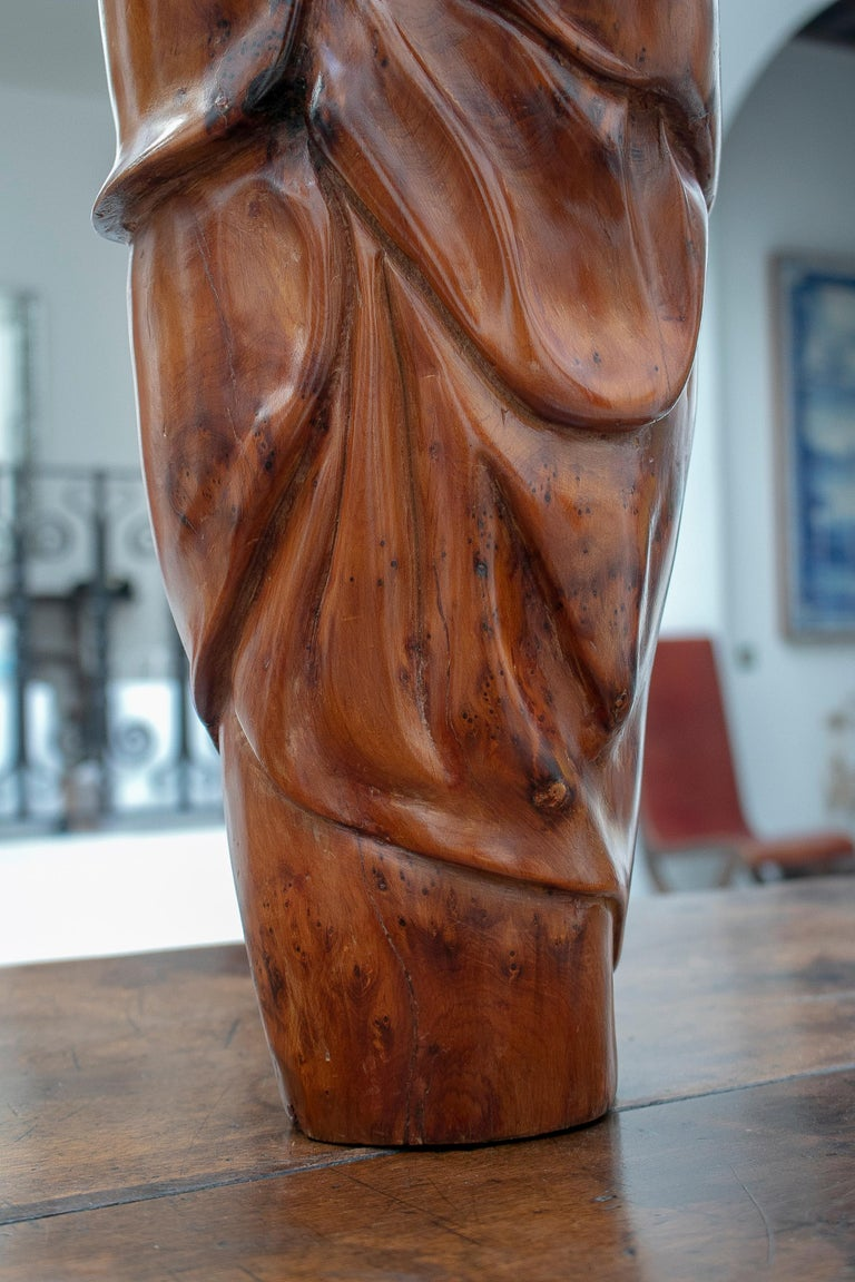 1950s French Fruitwood Abstract Figurative Sculpture of an Arab Woman with Niqab For Sale 10