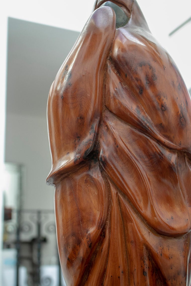 1950s French Fruitwood Abstract Figurative Sculpture of an Arab Woman with Niqab For Sale 11